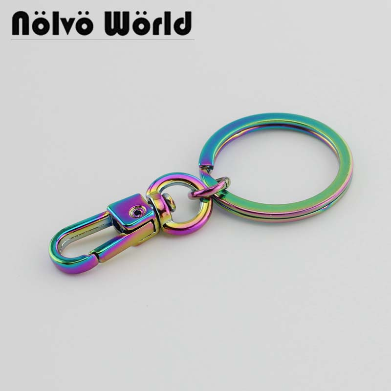 2-20pcs,Gorgeous Rainbow Clasp Clips Plus 24mm Key Ring Keyring For Bag Purse Accessories Metal