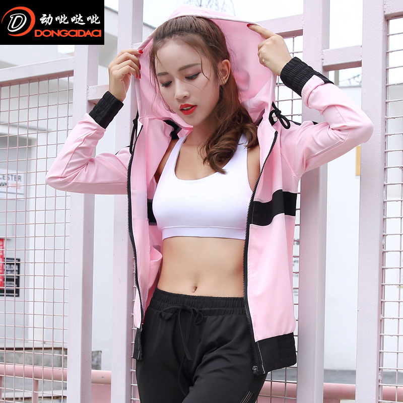 2019 New Style Yoga Jacket Fitness Slim Fit Hooded Joint Slimming Breathable Zipper Pocket Tops