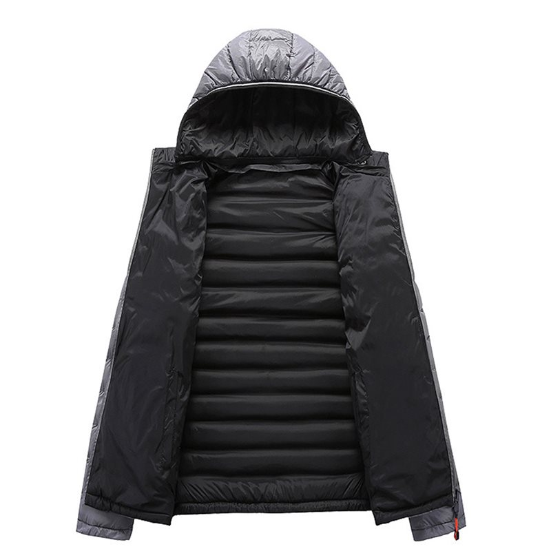 Men Solid Color Down Jacket Moto amp Biker Warm Plus Velvet Thick Heated Jacket School Casual Hooded Coat Wear On Both Sides Coat in Down Jackets from Men 39 s Clothing