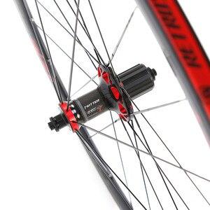 Image 4 - RS ultra light 700C wheels carbon fiber hub  4 sealed bearings aluminum alloy 36mm rims colorful decal road bike wheel set