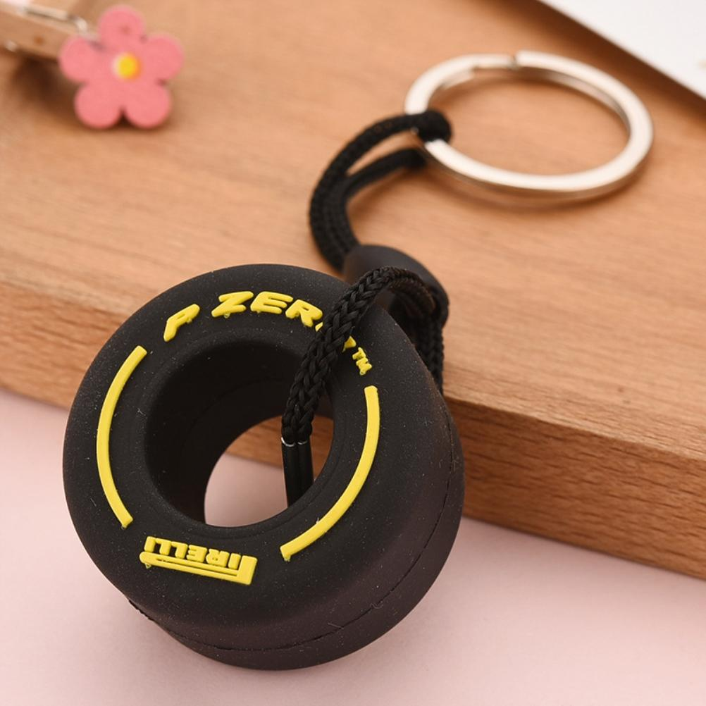 Simulation Cartoon Small Tire Keychain PVC Soft Rubber Key Ring Car Hanging Ornaments Decoration Interior Accessories