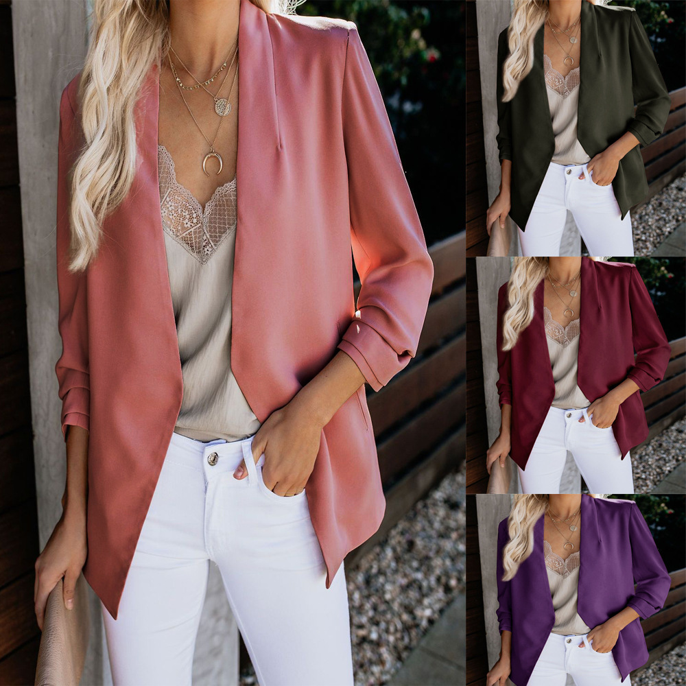 Women Blazer 2019 Fall Sleeve Solid Color Casual Office Jacket Blazers Coat  No Button Lady Pink Bule Black Blazer Plus Size 5XL