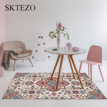 SKTEZO Crystal Velvet Retro Classic Flower Running Non-slip Living Room Carpet Persian Bedroom Coffee Table Carpet Area Carpet