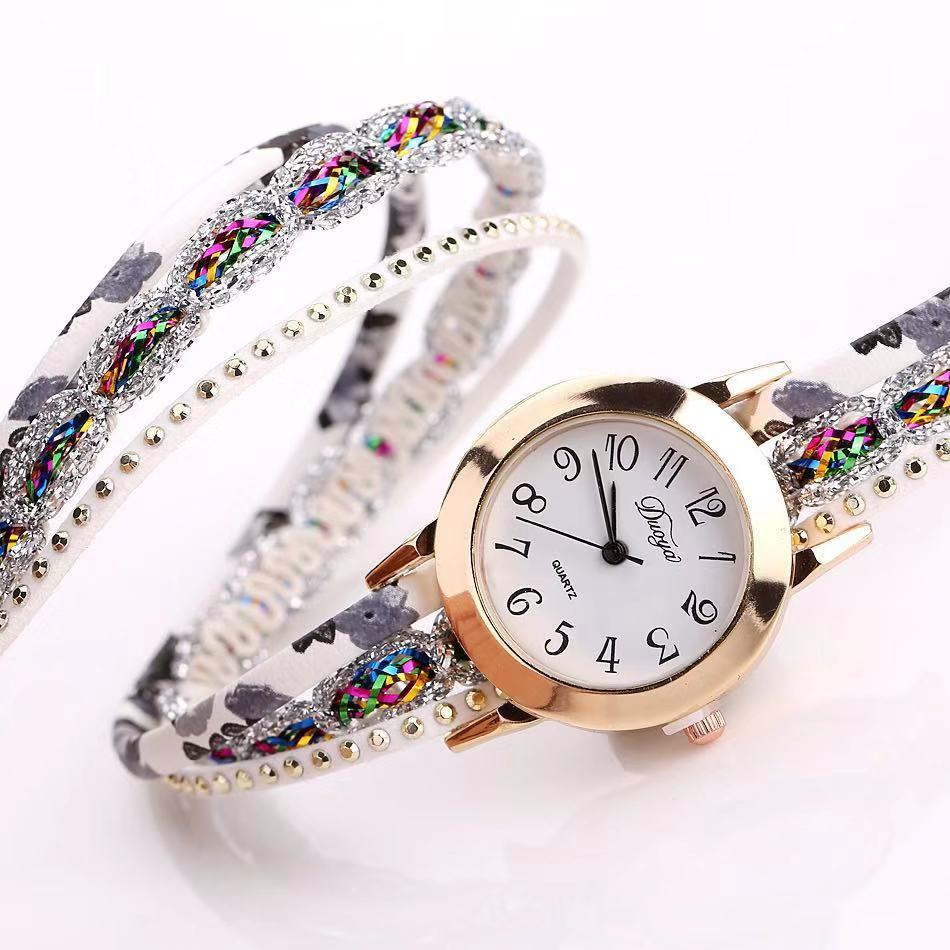 Foloy Women Watch Shredded Fashion Quartz Colorful Flower Wristwatch Bracelet Female Watches