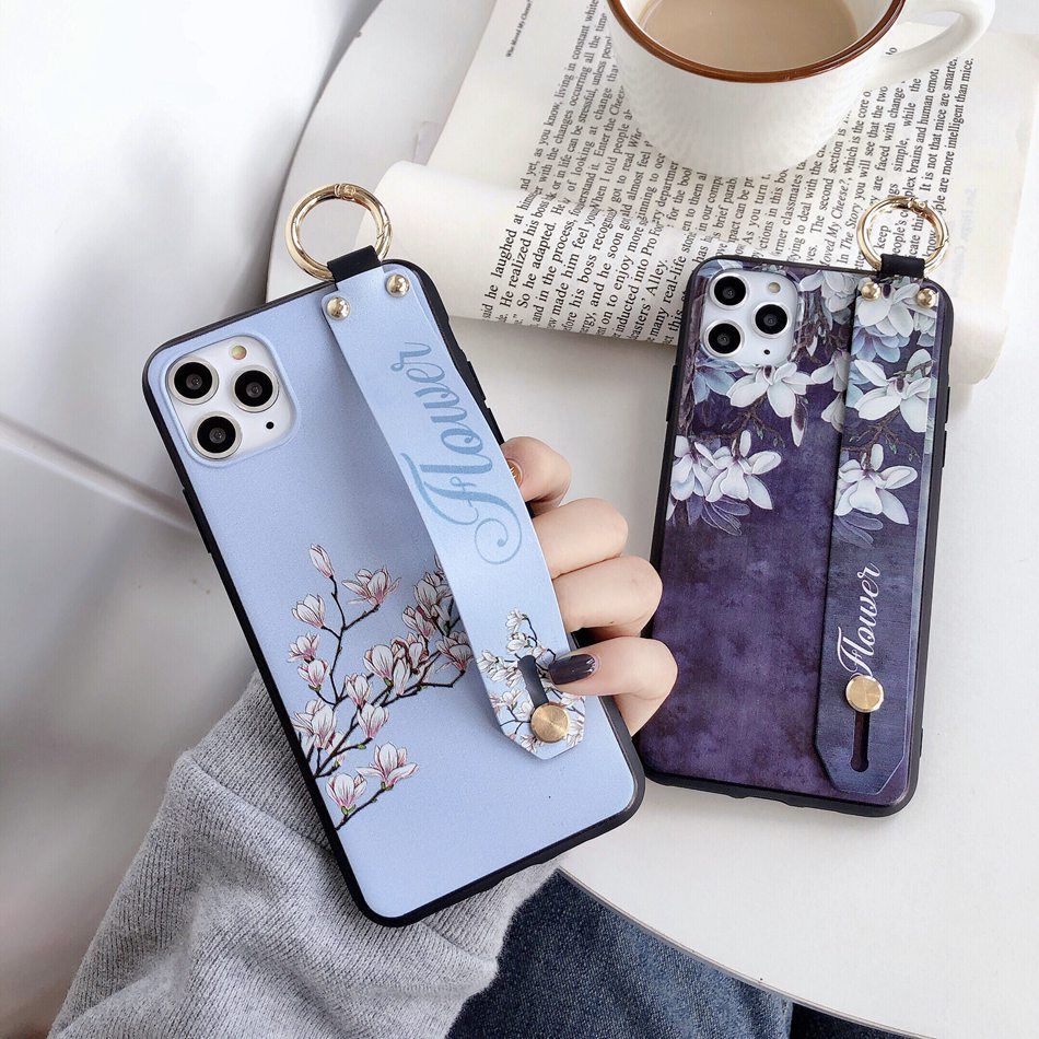 For iPhone 11 8 7 Plus XR X 11 Pro XS MAX Fashion Flower Lanyard Loop Stand Phone Case For iPhone SE/8/7 6 Plus soft TPU Cover(China)