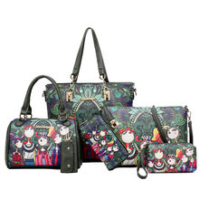 Conjunto de bolsos de cuero con estampado de dibujos animados para Mujer, bolsos de hombro tipo bandolera, Bolso de mano, 6 uds.