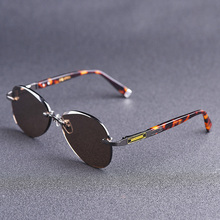 Vazrobe Glass Sunglasses Brown Men Natural Crystal Glasses Man Rimless Vintage Eyewear for Anti Eye Dry Scratch UV400