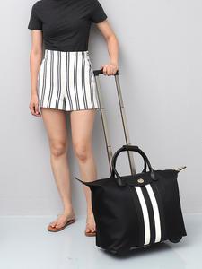 Toiletry-Bag Luggage Wheel-Suitcase Duffel Travel Women Flight Holiday Strip SC Long-Strap