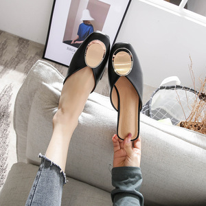 Image 3 - Genuine Leather Mules Women Shoes Metal Decoration Square Toe Slippers Casual Chunky Heels Slides Slip on Loafers Big Size Mule