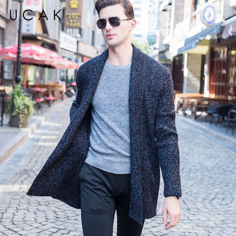 UCAK Brand Merino Wool Sweater Men Autumn Winter Cashmere Cardigan Men Streetwear Fashion Big Collar Long Sweater Coat Men U3052