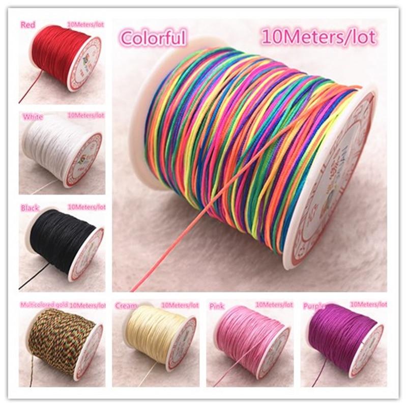 10M/lot 0.8/1.0mm Nylon Cord Thread Chinese Knot Macrame Cord Bracelet Braided String DIY Beading Thread