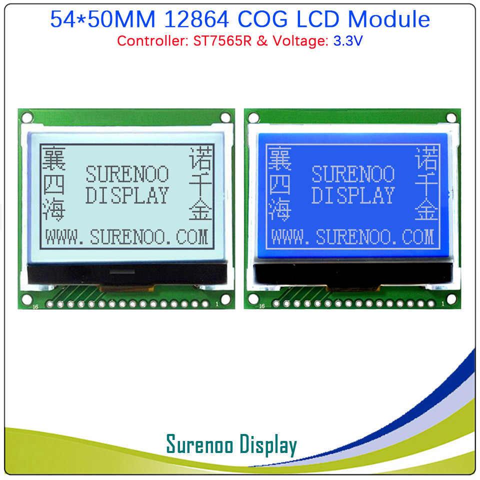 54 × 50 ミリメートル 12864 128 × 64 COG グラフィック Lcd モジュールの表示画面 LCM ビルドの ST7565P/ R サポートパラレル/シリアル SPI