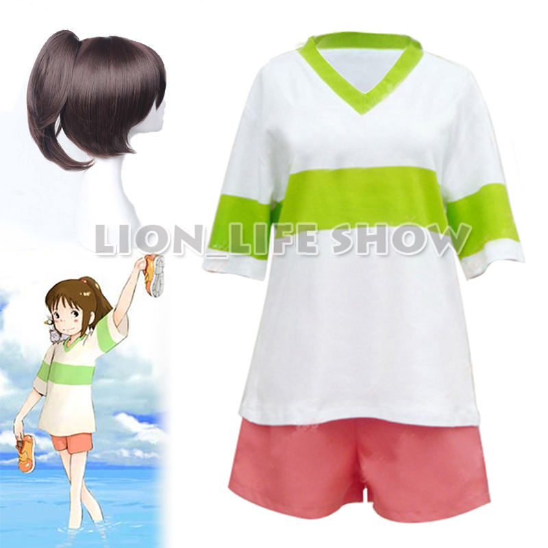 Chihiro Ogino Cosplay Costume Japan Anime Spirited Away Casual Costumes T Shirt Shorts Halloween Party Cosplay Wigs Movie Tv Costumes Aliexpress