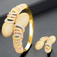 GODKI Luxury 2 PCS Bangle Ring Set for Women Wedding Cubic Zirconia Choker Necklace Earring Dubai Jewelry Set Jewellery Addict