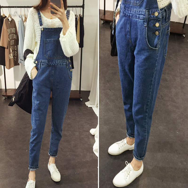 Spring And Autumn Korean-style Washing Faded Loose-Fit Slimming Suspender Pants Cowboy Trousers WOMEN'S Dress