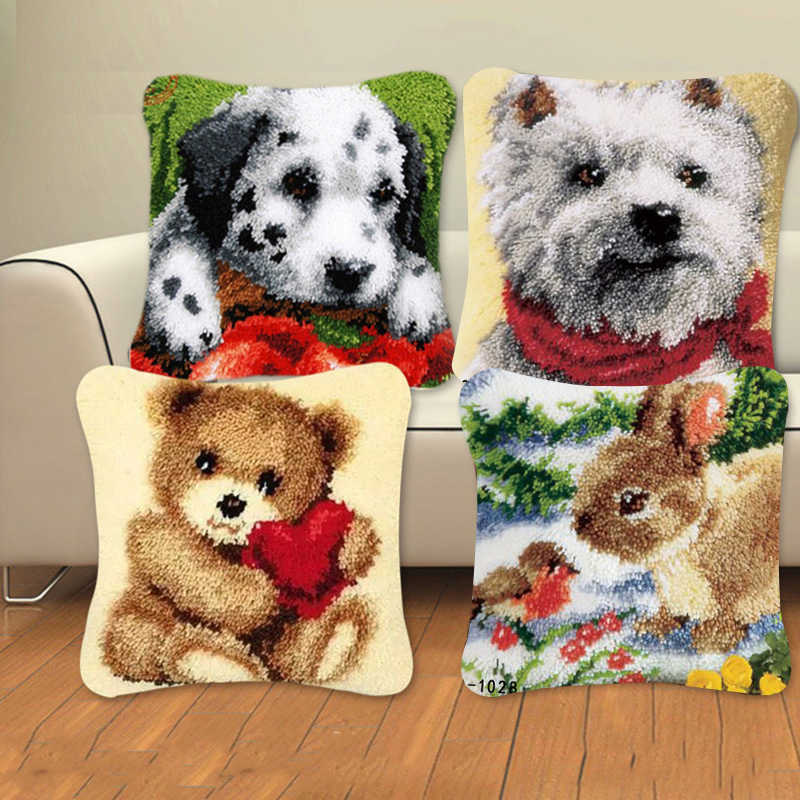 Seri Hewan Kait Karpet Kit Anjing 3D Segmen Bordir Bantal Wol Cross Stitch Karpet Bordir Diy Kait Bantal