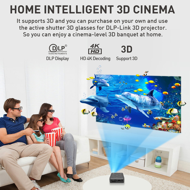 WZATCO T11 Portable Mini DLP 3D Projector HD Android 9.0 For Full 1080P 2