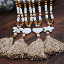 Bohemian Handmade Long Sweater Chain Tassel Necklace Wood Bead Turquoise Jewelry 270D(China)