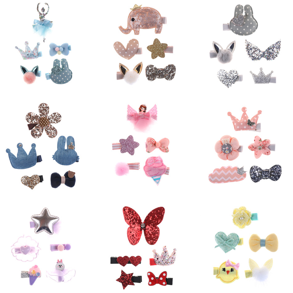 5PCS Cute Pet Grooming Floral Solid Cotton Bow Flower Hairpins Butterfly Hair Clips Hair Barrette For Girls Dog Kitten Puppy