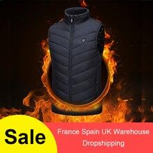 Куртка с подогревом, жилет с USB, мужская зимняя куртка с электрическим подогревом, без рукавов, для путешествий, для улицы, жилет для пеших прогулок