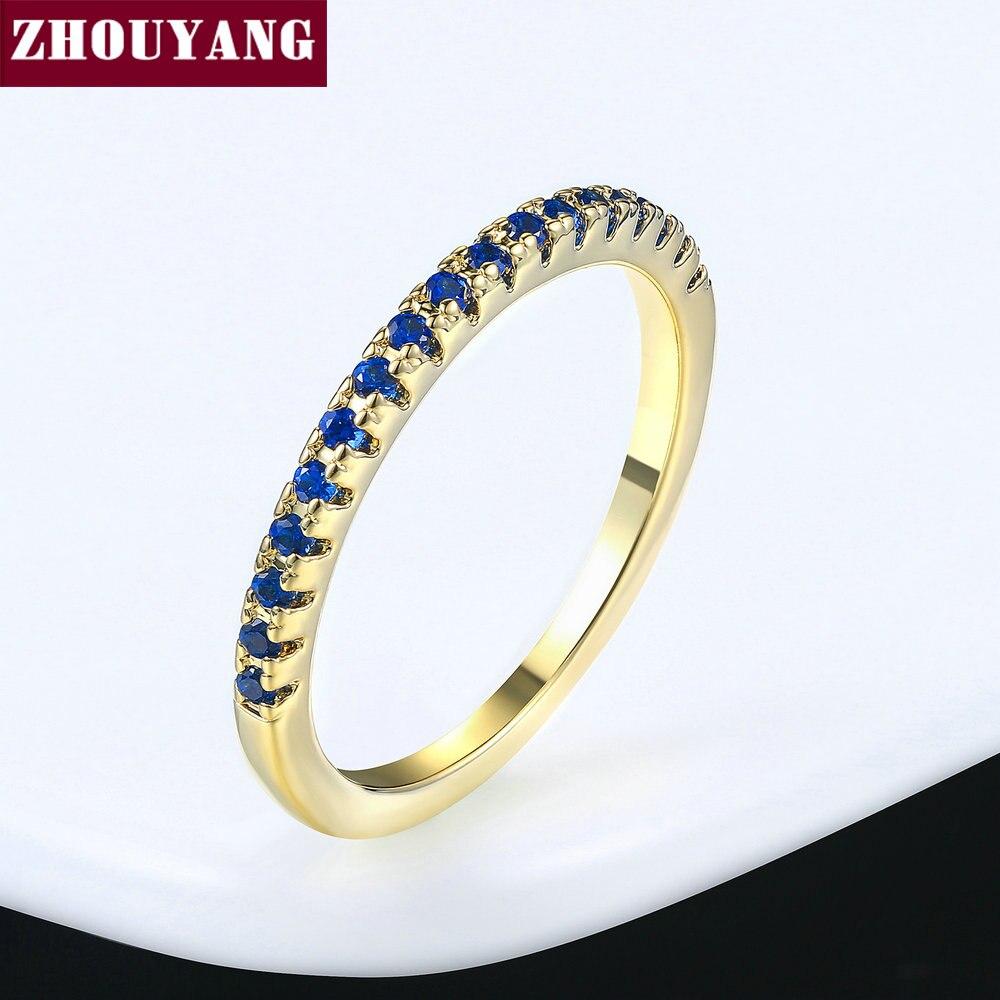 ZHOUYANG обручальное кольцо для женщин и мужчин лаконичное классическое многоцветное мини кубическое циркониевое розовое золото цвет подарок модное ювелирное изделие R251 - Цвет основного камня: R265