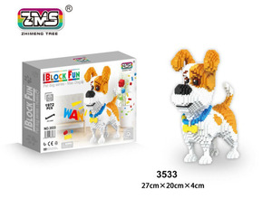 Image 4 - ZMS Jack Russell Terrier Pet Dog Animal 3D Model DIY Micro Diamond Mike Husky dog Mini Blocks Bricks Assembly Toy Gift