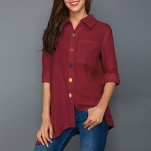 W Summer New Fashion Women Irregular Blouse Colorful Button Irregular Thin Office Lady