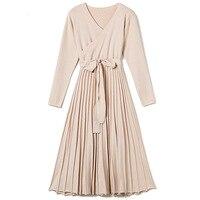 Autumn Winter Woman Dress V neck Wrap Sweater Dress Elegant Pleated Long Dress
