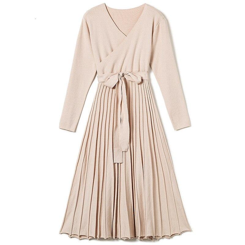 Autumn Winter Woman Dress V-neck Wrap Sweater Dress Elegant Pleated Long Dress