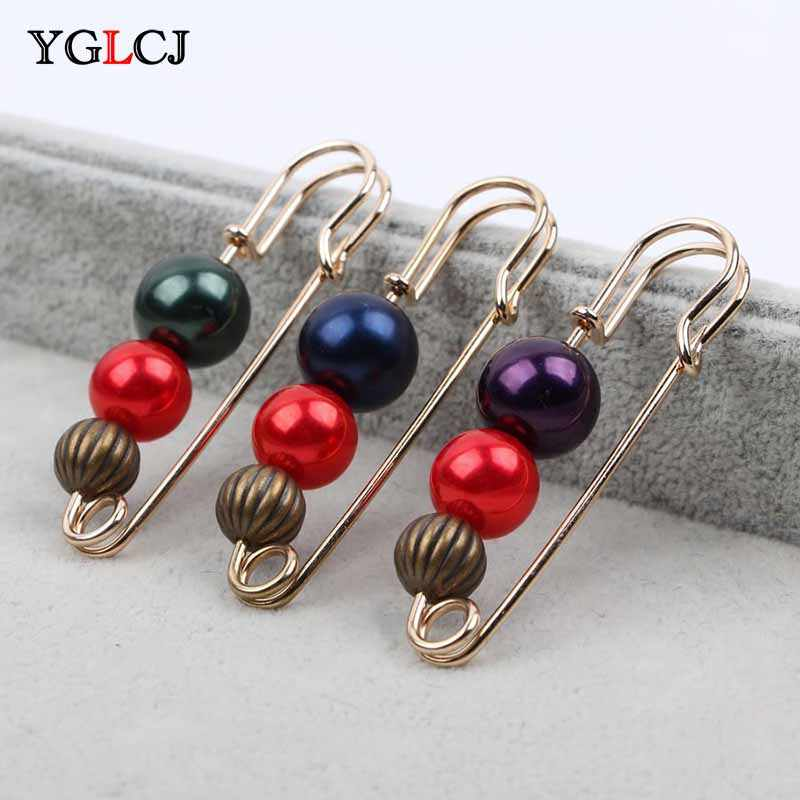2018Fashion 1Pc Ms./Girl Imitation Pearl Brooch Classic Charm High Quality Accessories Simple Double Pearl Brooch Joker