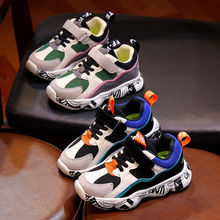2019 Autumn Kids Sports Sneakers Shoes for Children Boys Patchwork Sneaker Fashion Graffiti Girls Student Boots Anti-Slippery