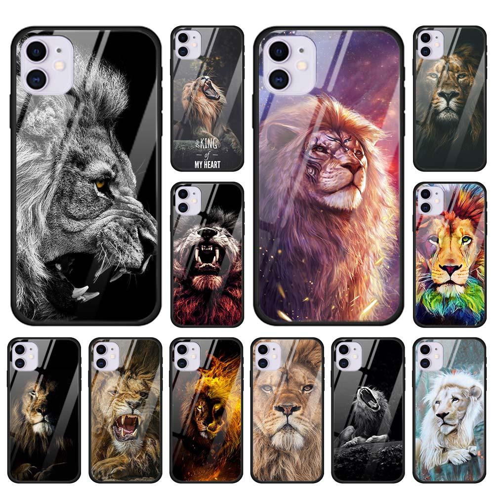 Roi de tigre lion Étui En Verre Trempé pour iPhone 11 Pro Max SE 2020 X XR XS MAX 7 8 plus 6 6s Plus Couverture de Logement