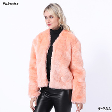 Pink Plush Fur Coat Women Winter 2019 Plus Size 3XL Covered Button Pocket Warm Faux Rabbit Jackets Black