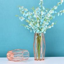 Szkło Glamour wazony kompozycje kwiatowe Metal nowoczesny skandynawski Design wazony europejskie biurko Dekoracje Do Domu Home Decor DE50HP