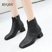 Женские ковбойские ботинки byqdy в западном стиле черные кожаные