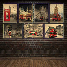 London Red Buses And Telephone Booths Tower Of London Retro Kraft Wallpaper Cafe Bar Decorated Vintage Poster