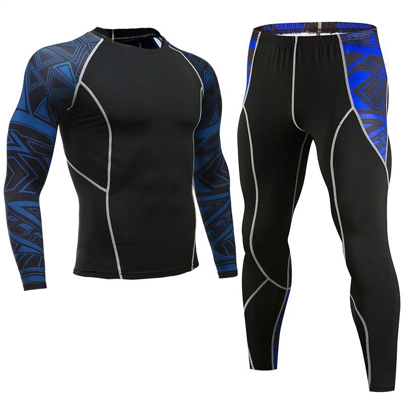 running - Mens Sports Running Set Compression T-Shirt + Pants Skin Tire Long Sleeves Fitness Rashguard MMA Training Clothes Gym Yoga Suits