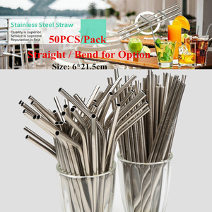 Image 1 - 50pcs/lot Reusable Stainless Steel Straws Straight bending Drinking Straws With Cleaner Brush Metal Straw Bar Party Accessory