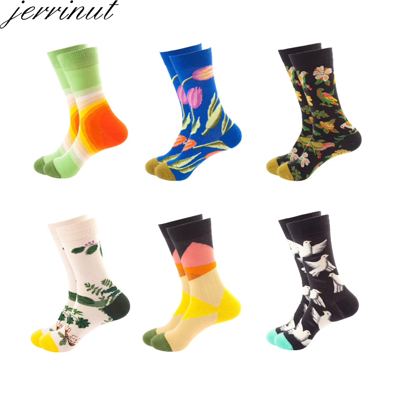Men's Cotton Happy Funny Socks With Print Cartoon Cute Fashion Socks Spring Autumn Flower Bird Sketch Harajuku Crew Socks Unisex