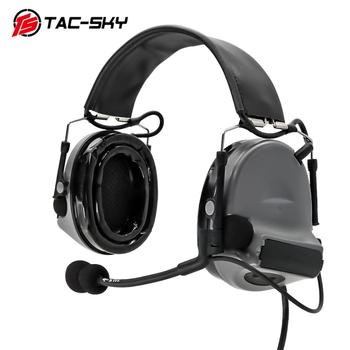 TAC-SKY tactical headphones COMTAC II silicone earmuffs hunting headset tactical noise reduction pickup shooting headphones gray tactical headset active noise cancelling headphones shooting intelligent soundproof earmuffs pickup noise prevention