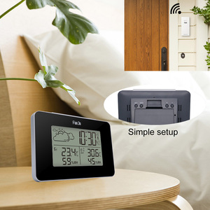 Image 4 - FanJu FJ3364 Weather Station Digital Clock Wireless thermometer hygrometer Sensor LED Alarm Snooze Table Clocks Tools DCF