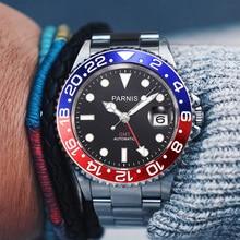 Parnis 40mm mechaniczne zegarki męskie GMT szafirowe mężczyzna mężczyzna zegarek automatyczny relogio masculino rola luksusowej marki 2019 prezent