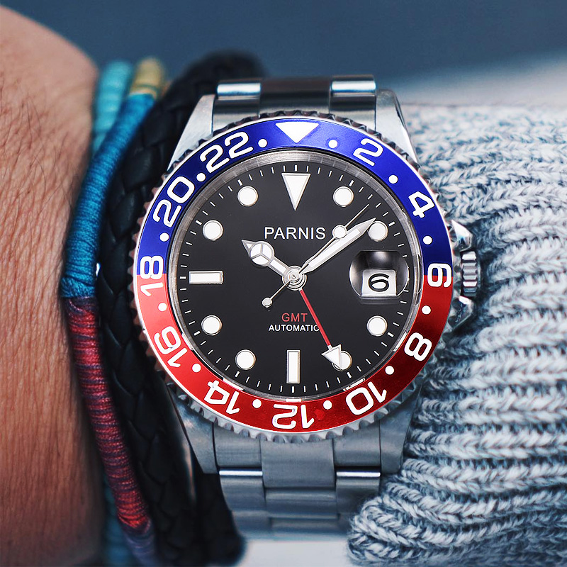 relogio masculino Parnis 40mm relogio automatico esportivo GMT Black Red Ceramic Bezel Mergulhador Relógio Automático de Safira de Aço Inoxidável Homens Relógio De Luxo Papel