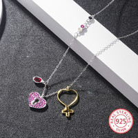 925 sterling silver female necklace pendant fashion personality heart shaped cross shape jewelry hot birthday gift 2019 new hot