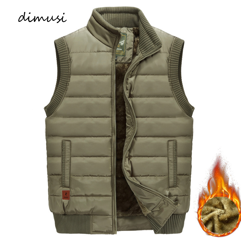 DIMUSI Mens Jacket Sleeveless Vest Winter Male Fleece Warm Vest Coats Men Stand Collar Army Thicken Waistcoats Clothing 6XL
