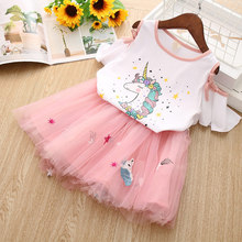 Kids Girls Clothing Sets summer New 2016 Brand Clothes White Cartoon Short Sleeve T-Shirt+Veil Dress 2Pcs Children