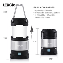 LEDGLE Rechargeable LED Camping Lantern Flashlights with 6 AA Batteries 360 Degree Brightness Camping Light with