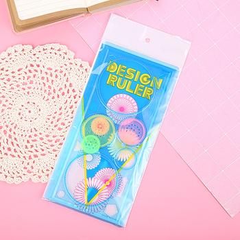 Rulers Multifunctional Kaleidoscope Variety Painting Board Ruler Kindergarten Student Stationery Curved Drawing Ruler SP99 1sets magic turtle rabbit sketchpad ruler educational drawing board variety puzzle million flowers multifunctional ruler