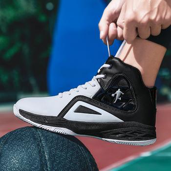 Gorąca sprzedaż buty do koszykówki wygodne wysokie buty treningowe botki męskie trampki sportowe buty sportowe tanie i dobre opinie DE LUXE Totem RUBBER Betonowej podłodze Hard court Pcv podłogi Drewniane podłogi Skóra Płótno Profesjonalne Średnie (b m)