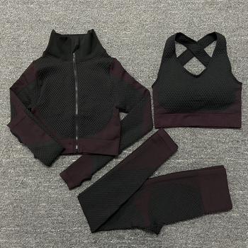 2/3PCS Seamless Women Yoga Set Workout Sportswear Gym Clothing Fitness Long Sleeve Crop Top High Waist Leggings Sports Suits 12